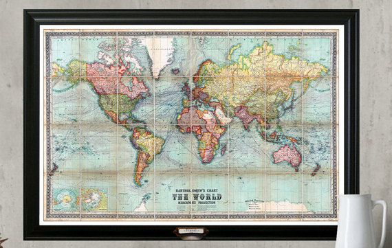 World Travel Map. Personalize Your Map, Framed 24x36, With a Set of Push Pins, Vintage Political Geography    This is a Vintage map from the