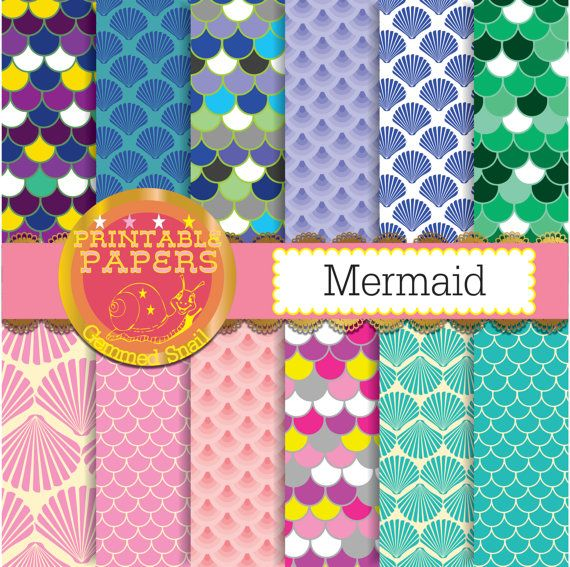 Mermaid scrapbook paper scallop or fish scales by GemmedSnail  https://www.etsy.com/listing/181633160/mermaid-scrapbook-paper-scallop-or-fish?ref=shop_home_active_15