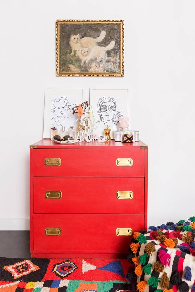 statement red dresser