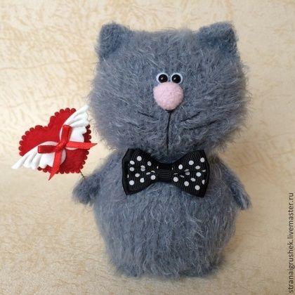 Котенок Валентинкин. - серый,вязаные коты,вязаная игрушка,авторская игрушка