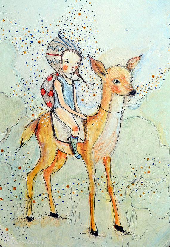 Forest Girl and deer Original Illustration by holli on Etsy, $310.00