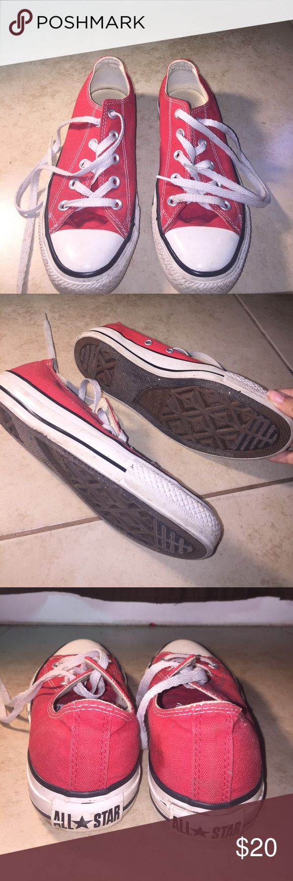 Red converse sneaker Gently used red Converse sneaker still have a lot of life to them. Size 4 in men ...size 6 in women Converse Shoes Sneakers