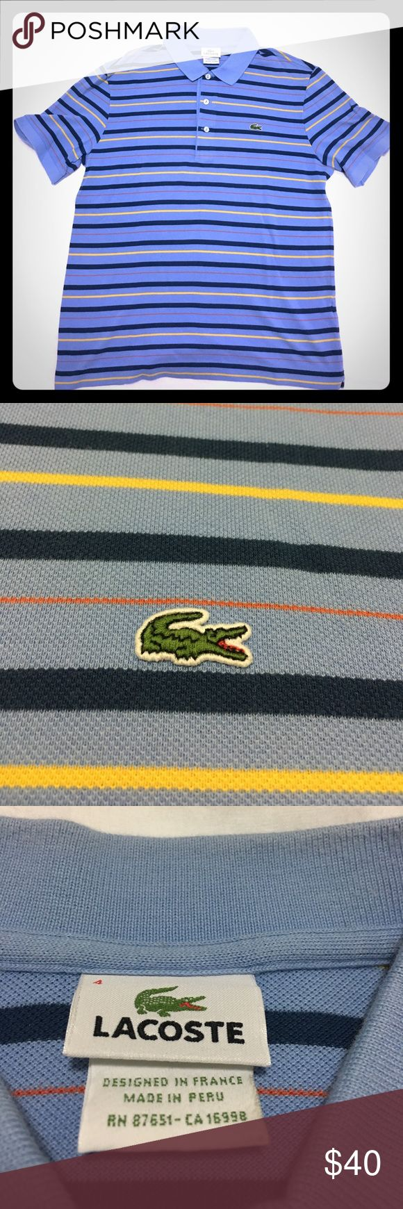 Men's Lacoste blue striped polo shirt size 4 Men's Lacoste blue striped polo shirt size 4. The size is the old version of their sizes. I would say that the shirt fits like a smaller medium. Lacoste Shirts Polos