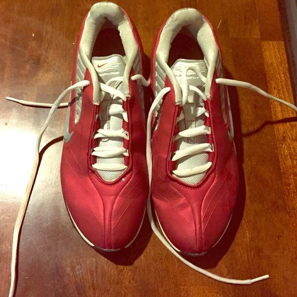 Red / Gray/ White Nike Shoes Nike shoes barely worn gently used. No scratches, tears or scuffs. Make an offer Nike Shoes