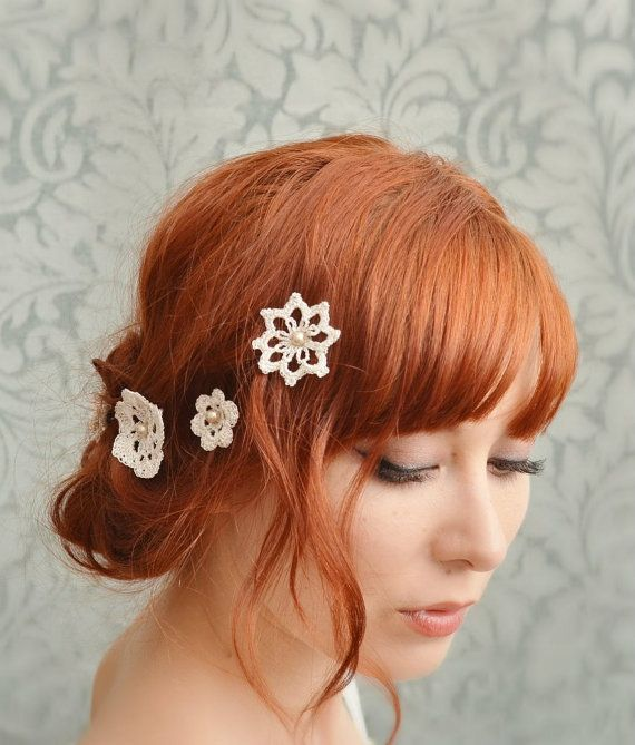 Lace Hair Accessories Wedding Bobby Pins Bridal Hair Pins Crochet And Pearls - Attic ...