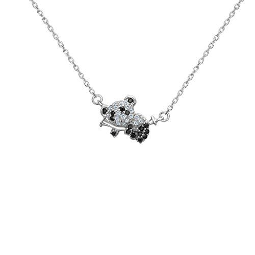 Fanze 925 Sterling Silver Cubic Zirconia Cute Little Panda clmb Bamboo Animal Pendant Necklace QqLhqx