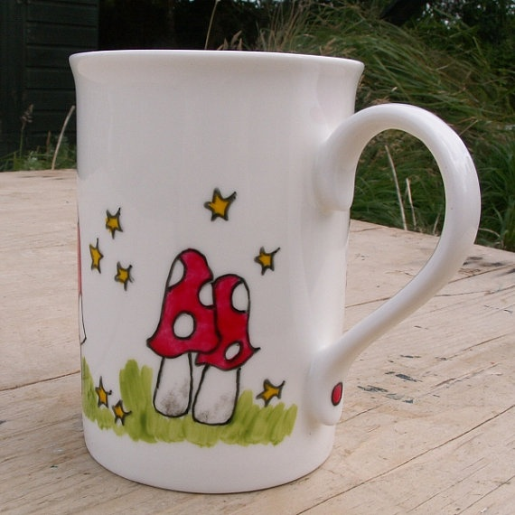 Mushroom Mug Hand Painted English Bone China Mug by scattyartist, $21.00