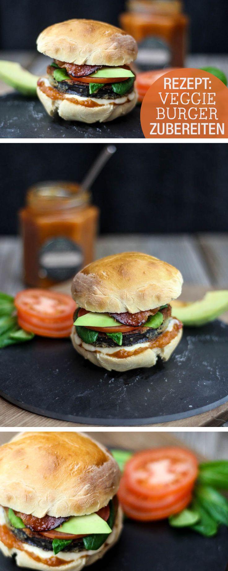 Rezept: Veggie-Burger mit Aubergine und Avocado zubereiten / recipe: veggie-burger with aubergine and avocado via DaWanda.com