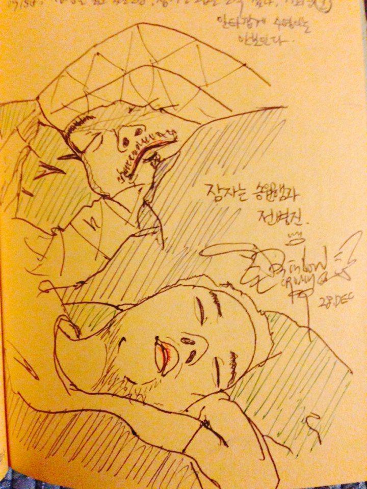 Seungwon and Byeongjin is sleeping. (ball-pen, 2008)