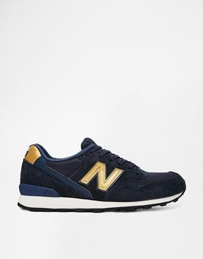 New Balance 996 Suede/Mesh Blue and Gold Trainers