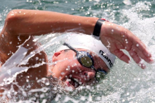 Angela Alexandra Maurer of Germany competes during the Open Water Swimming Women 25k race on day eight of the 15th FINA World Championships at Moll de la Fusta on July 27, 2013 in Barcelona, Spain.