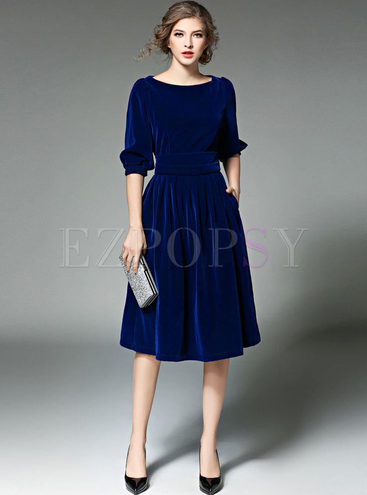 Kaufen Sie hochwertige Blue Lantern Ärmel O-Neck Skater-Kleid online bei billi …   – Fashion