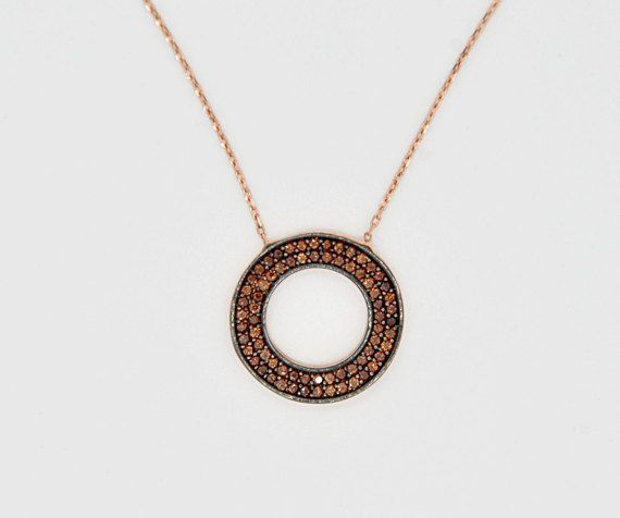Bronze Cubic Zirconia Necklace 925k Silver by TheJewellander