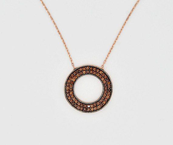 Bronze Cubic Zirconia Necklace 925k Silver by TheJewellander