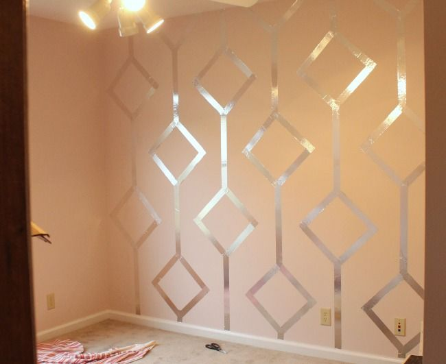 Foil taped wall: Wall Patterns, Duct Tape, Dining Rooms, Tape Wall, Washi Tape, Foil Tape, Girls Rooms, Accent Wall, Wall Design