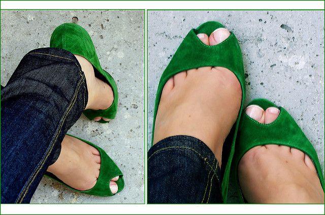 Green peep toes.