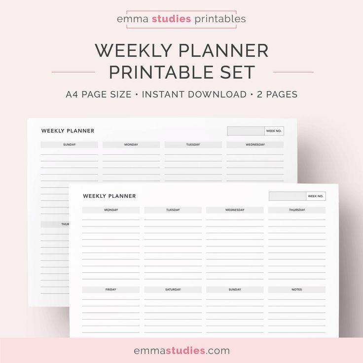 Weekly Landscape Planner Printable | By @emmastudies