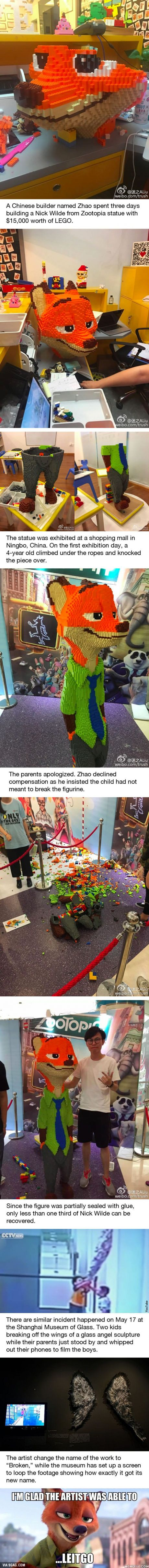 Dude Spent 3 Days Building Zootopia Lego Figurine, Kid Smashed It In Seconds