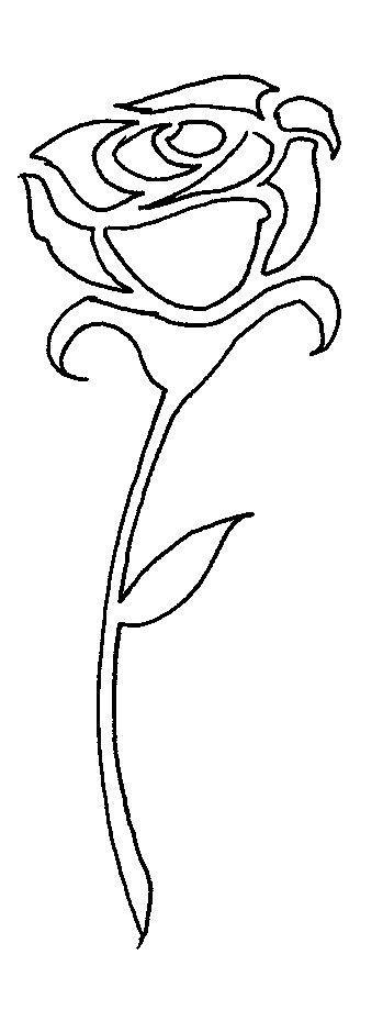 Plantillas de flores de stencil gratis: Plantillas de flores de stencil gratis: rosa de tallo largo