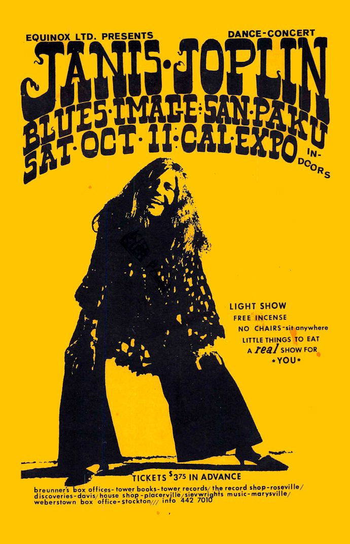 "JANIS JOPLIN1968 Sacramento California Concert Poster • 100% Mint unused condition • Well discounted price + we combine shipping • Click on image for awesome view • Poster is 12"" x 18"" • Semi-Gloss Finish • Great Music Collectible - superb copy of original • Usually ships within 72 hours or less with tracking. • Satisfaction guaranteed or your money back.Go to: Sportsworldwest.com"