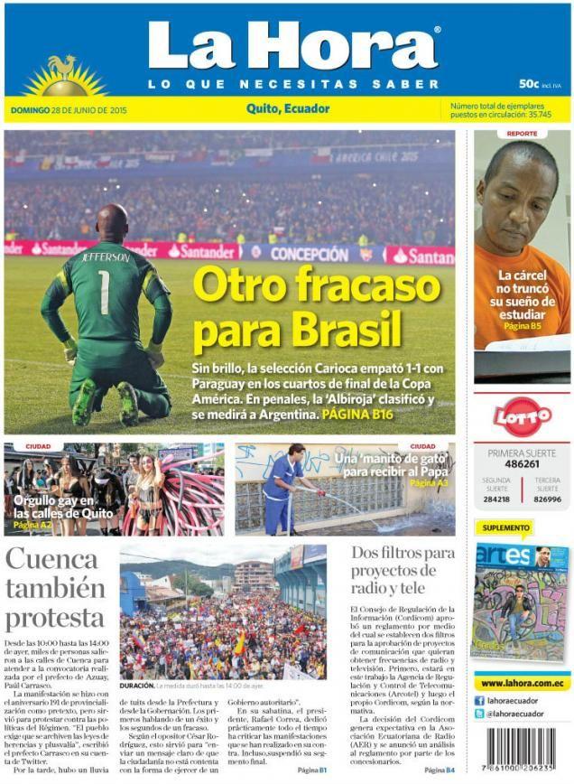 """Acá, nuestra portada de hoy, 28 de junio del 2015. Tema destacado: """"Otro fracaso para Brasil"""""""