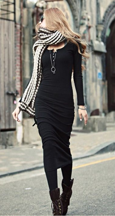 Fashionable Solid Color Long Sleeves Women's Dress