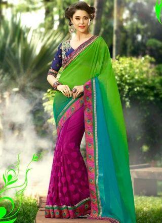 Glowing Magenta And Green Soft Net Patch Border Work Half  N Half Saree http://www.angelnx.com/Sarees/Wedding-Sarees