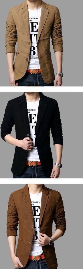 Men's Plus Size Solid Black/Yellow/Brown Blazer,Casual Notch Lapel Long Sleeve…