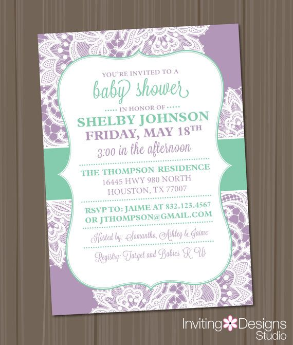 Lavender Baby Shower Invitations is an amazing ideas you had to choose for invitation design