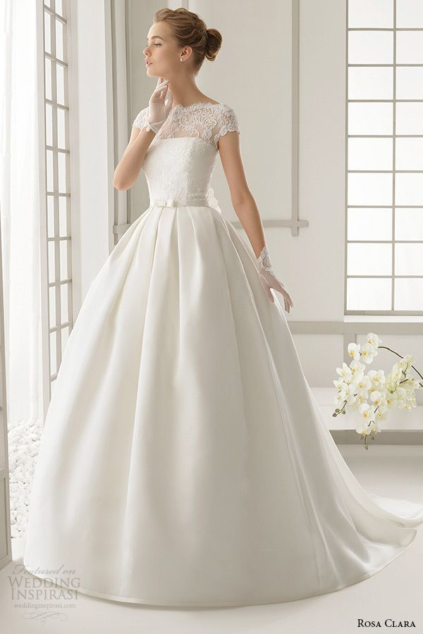 rosa clara 2016 bridal collection bateau neckline short sleeves wedding ball gown dress daroca front #ballgown #weddingballgown