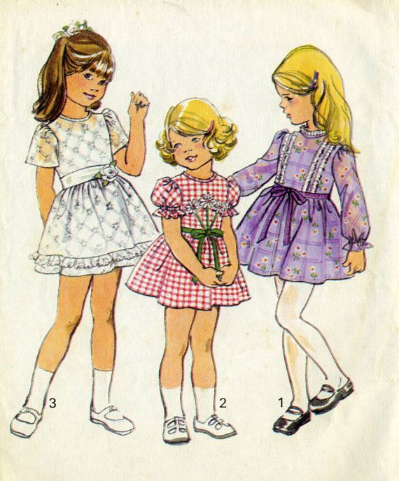 ©1975 Vintage Simplicity 6819 CUT Toddler Fancy Dress for Birthday Party, Easter, Flower Girl Sewing Pattern Size 6