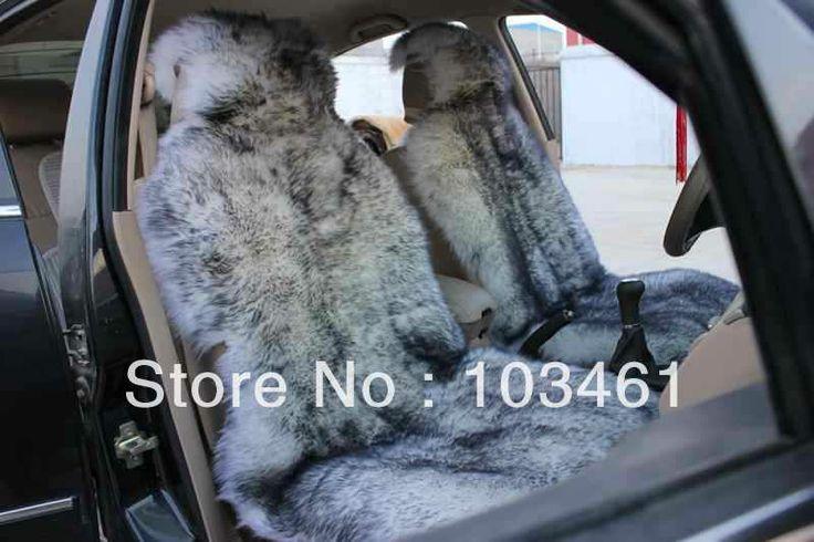Free Shipping 2pcs Sheepskin Car Seat Covers Long Hair White+Black $170.00