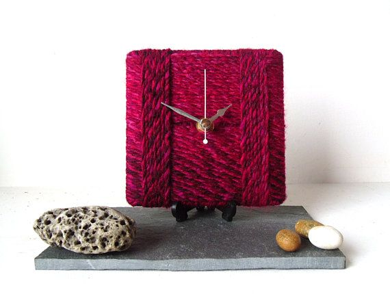 Red Desk Clock / Small Wall Clock Marbled Chunky by NaturalClocks, £10.00