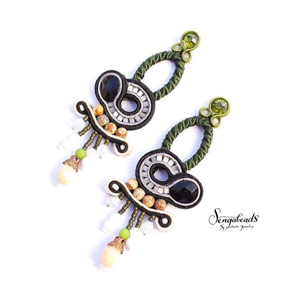 Long hand embroidered soutache earrings with natural by Sengabeads