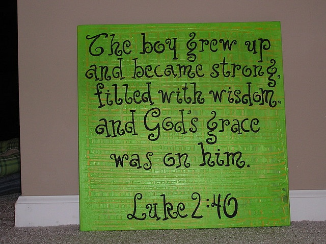 Bible verse for the boys' wall.