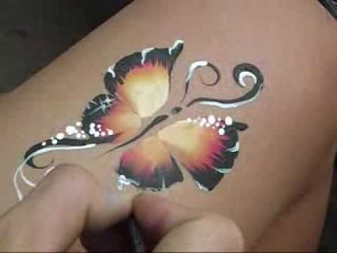 Butterfly One Stroke Brush Face Painting by Arjhay
