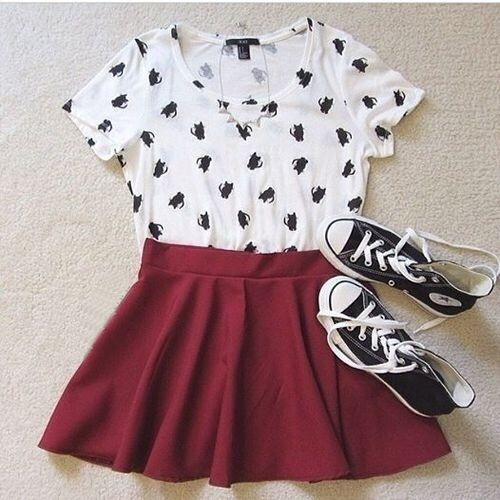 Black and white top with burgundy skater skirt and black sandals instead of converse