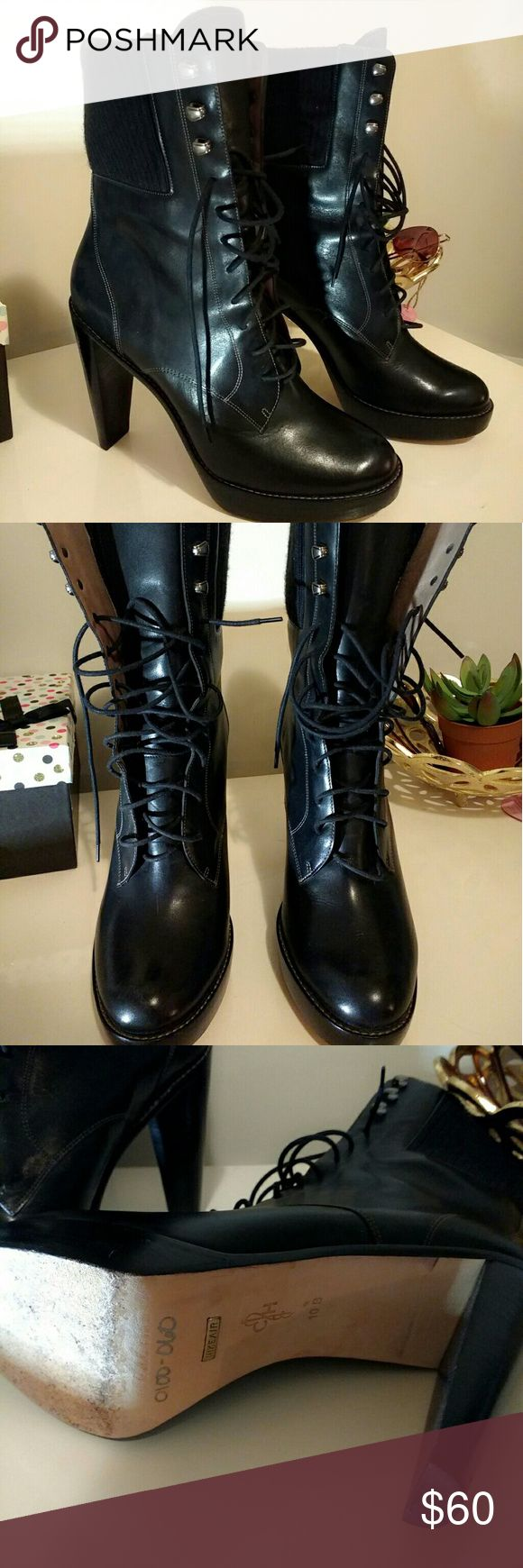 Cole Haan Boots. Size 10b Cole Haan boots with high heel. Very comfortable.  Size 10 B Cole Haan Shoes Lace Up Boots