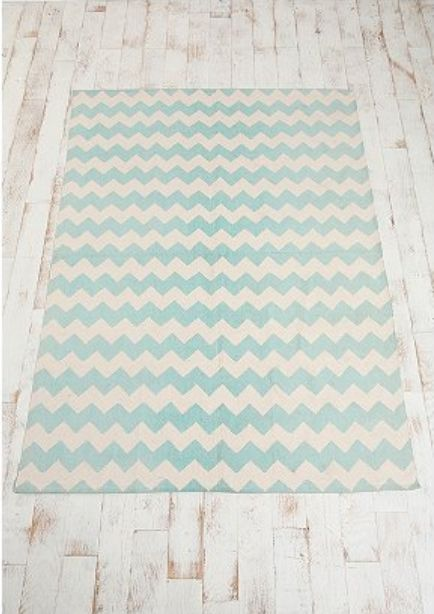 Chevron Rug   Love The Minty Blue And Cream Colors.