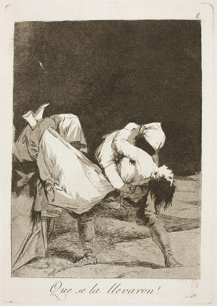 """Francisco de Goya: """"Que se la llevaron!"""". Serie """"Los caprichos"""" [8]. Etching and aquatint on paper, 214 x 150 mm, 1797-99. Museo Nacional del Prado, Madrid, Spain"""