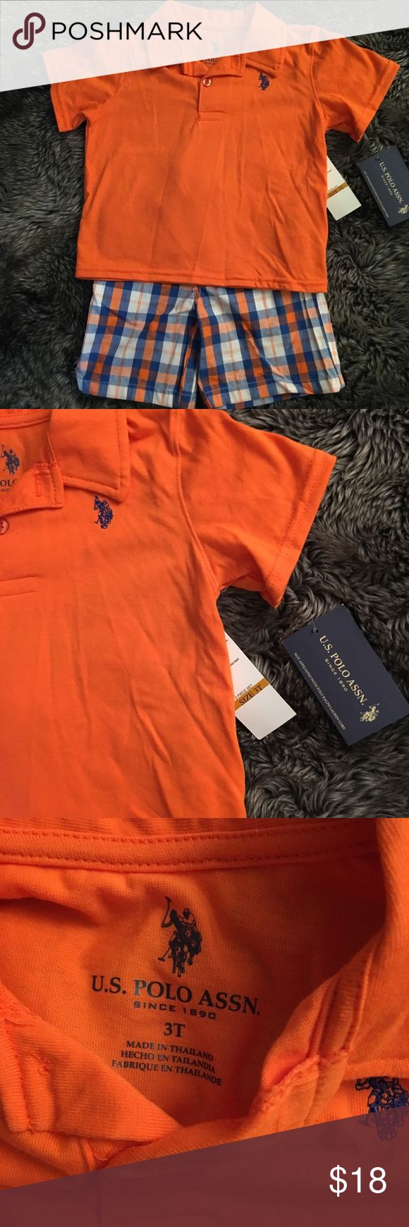 U.S. Polo association bouts two piece set 3T U.S. Polo association boys two piece set size 3T. Top polo style shirt, Orange in color. Bottoms plaid with elastic waist. U.S. Polo Assn. Matching Sets