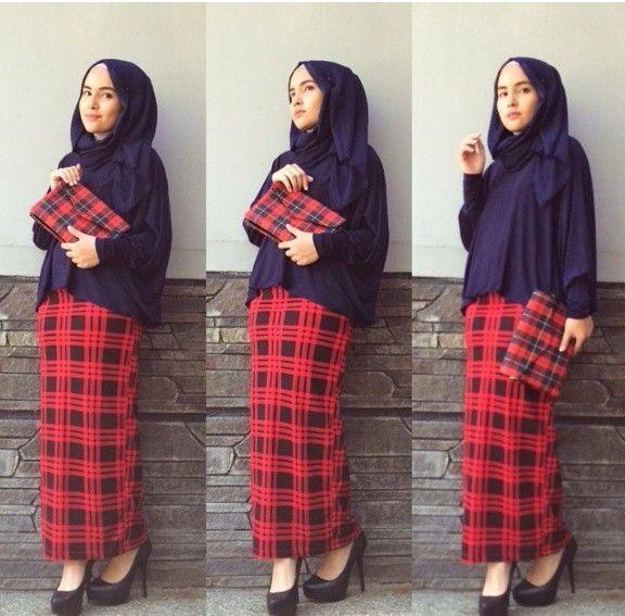 Tartan skirt lovee it, #hijab #fashion