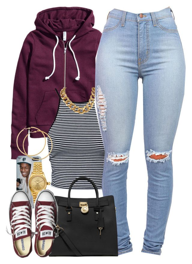 """""""Untitled #1251"""" by power-beauty ❤ liked on Polyvore featuring H&M, Estradeur, Rolex, MICHAEL Michael Kors and Converse"""