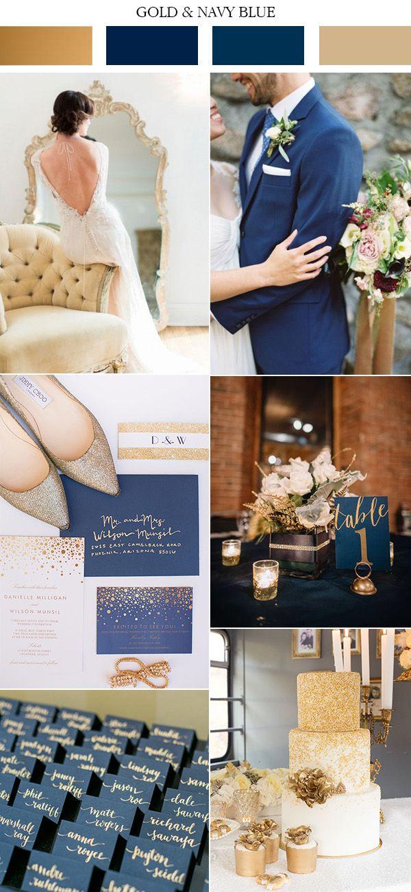las tendencias de color de oro de la vendimia y la marina de boda azul 2017