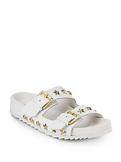 ASH United Studded Leather Slide Sandals. #ash #shoes #sandals