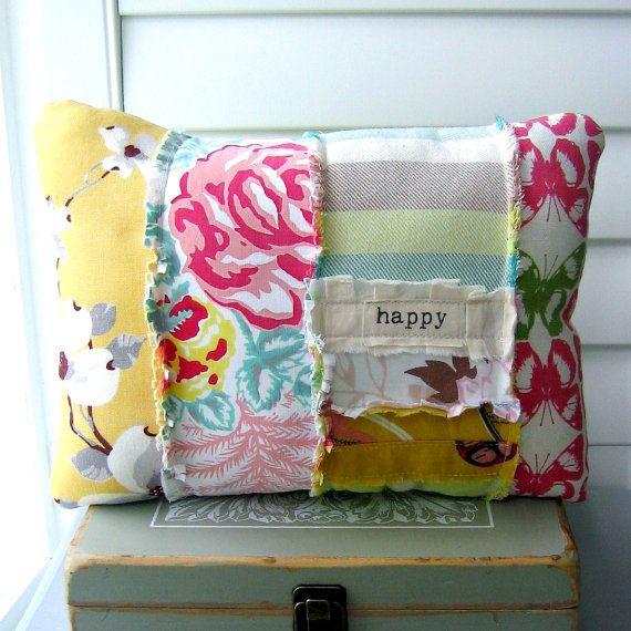 patchwork pillow fabric scrap pillow bohemian by tracyBdesigns, $21.00