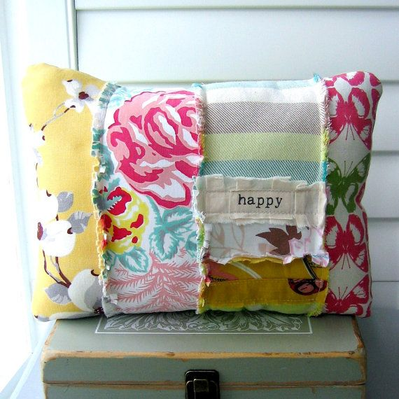 patchwork pillow fabric scrap pillow bohemian by tracyBdesigns, $21.00