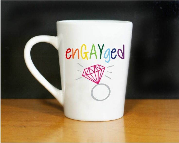 enGAYged Coffee Mug- Engaged- Engayged- LGBT Pride- LGBTQ Pride-  Gay Couple- Gay Wedding- Rainbow- Engagement Gift- Engagement Announcement by MommaBearsKeepsakes on Etsy https://www.etsy.com/listing/491396111/engayged-coffee-mug-engaged-engayged