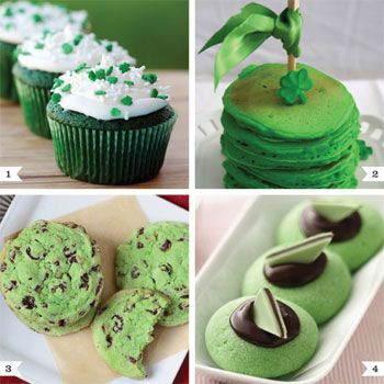 Everybody's a wee bit Irish on St. Patrick's Day, so break out the food coloring and celebrate with some tasty green treats! 1. Green velvet cupcakes by Love From the Oven 2. Green pancakes by Thoughtfully Simple 3. Mint chocolate chip cookies by TidyMom 4. ...