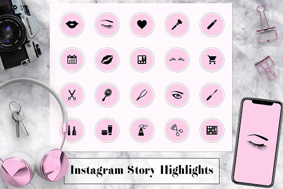 Pink Insta Story Highlights Icons